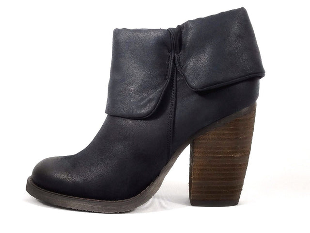 Luichiny Brush Up Fold Over Bootie Black Distressed Leatherette Block Heel