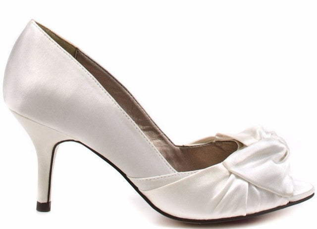 Luichiny Best One Yet Ivory Open Toe Satin  Pump Shoe