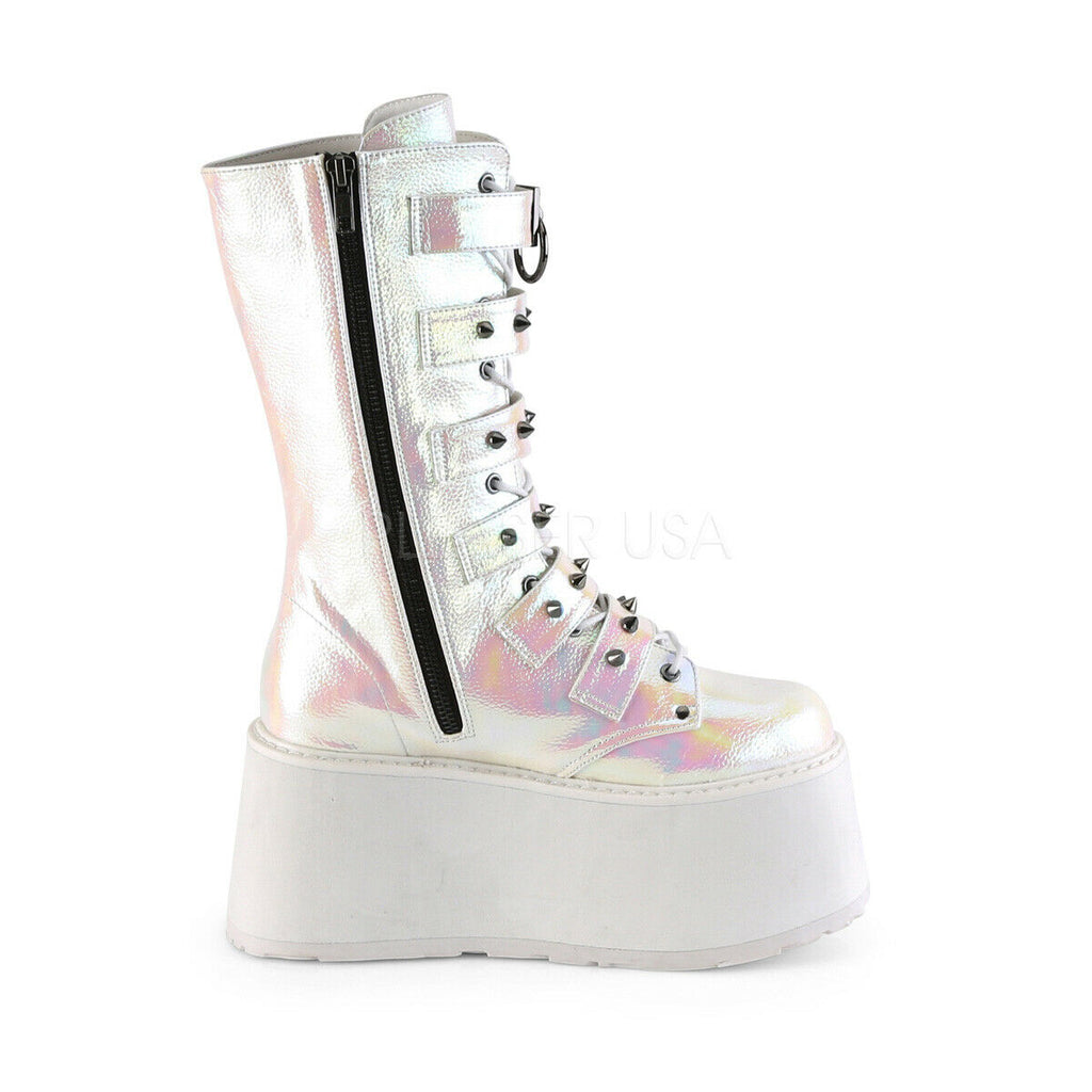 "Damned 225 Multi Strap Goth Punk Rock 3.5"" Flat Platform Boot White Pearl Iridescent"