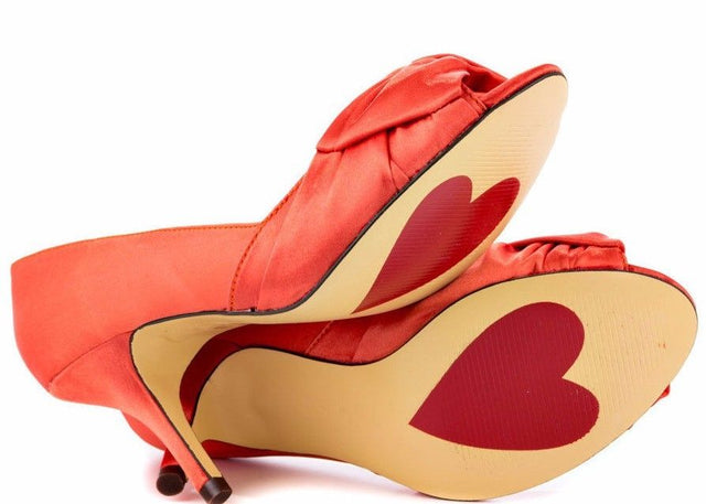 Luichiny Best One Yet Marigold Orange Open Toe Satin  Pump Shoe