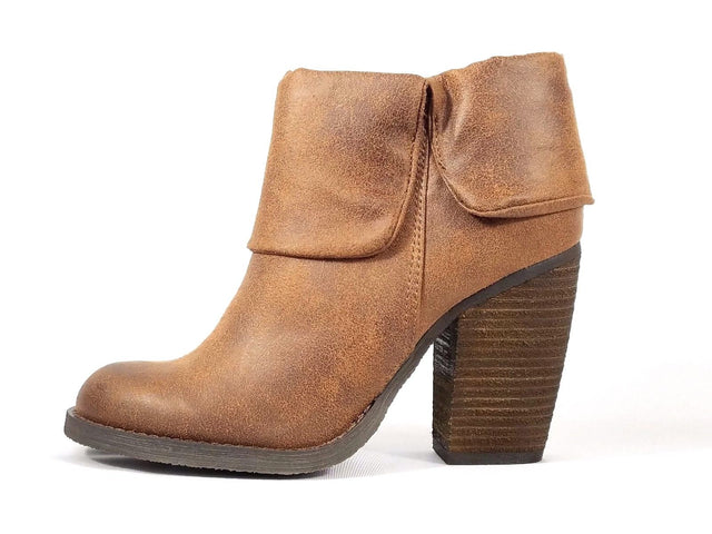 Luichiny Brush Up Fold Over Bootie Tan Distressed Leatherette Block Heel