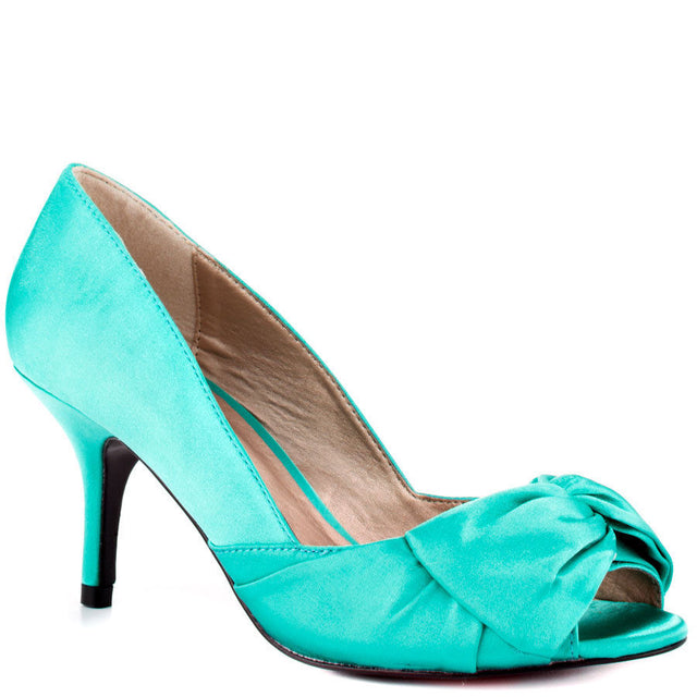 Luichiny Best One Yet Aqua Blue Open Toe Satin  Pump Shoe 7 - 11