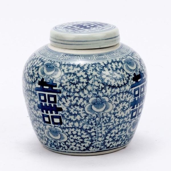Blue & White Double Happiness Floral Lidded Jar