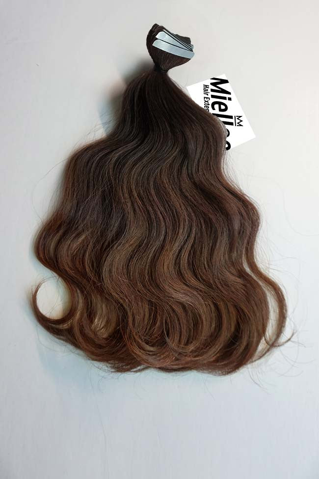 Dark Golden Brown Balayage Seamless Tape Ins | Beach Wave Remy Human Hair