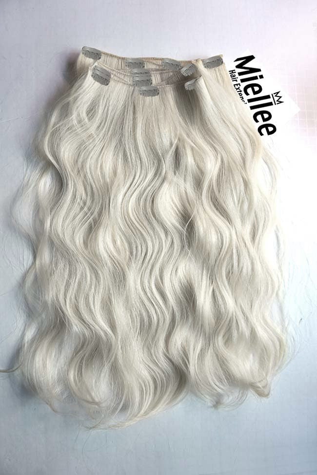 Frosty Blonde Full Head Clip Ins | Beach Wave Remy Human Hair