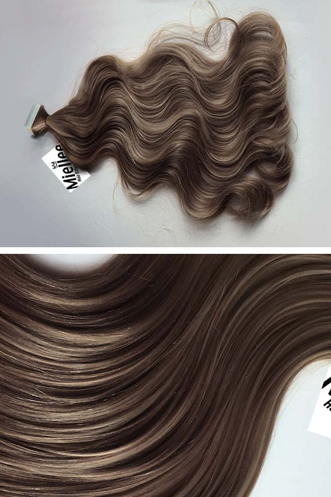 Hazelnut Brown Seamless Tape Ins | Beach Wave Remy Human Hair