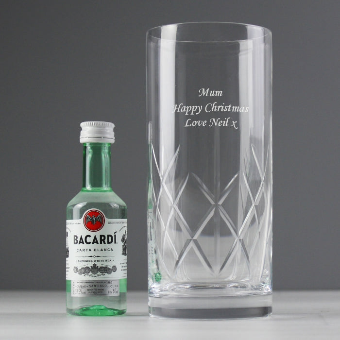Personalised Bacardi Rum & Crystal Glass Miniature Gift Set