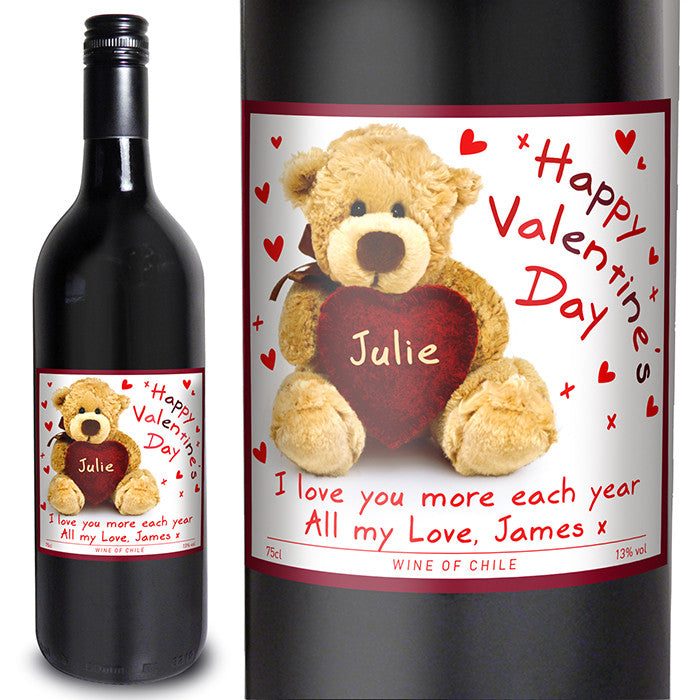 Personalised 'Teddy Heart' Valentines Red Wine - Personalised Gift Solutions - 1