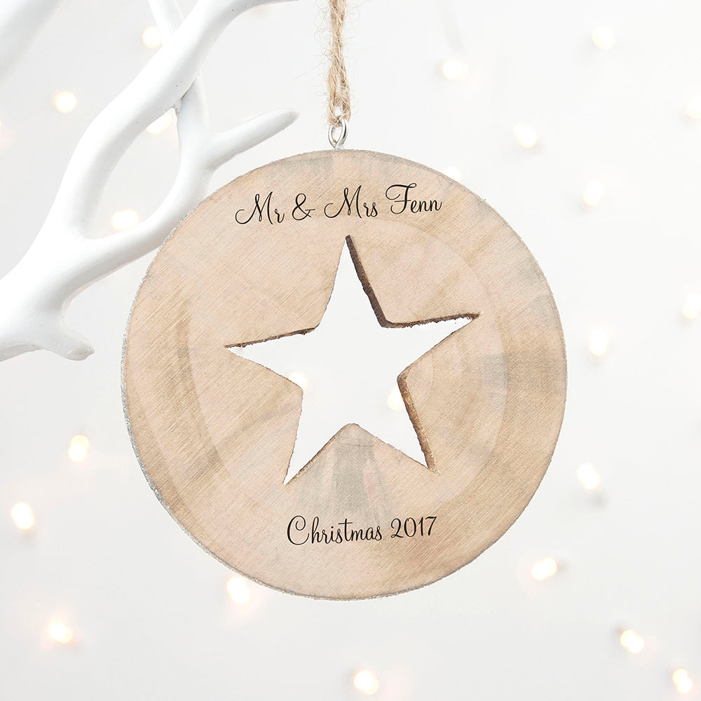 Personalised Bauble, Birch Wood Star