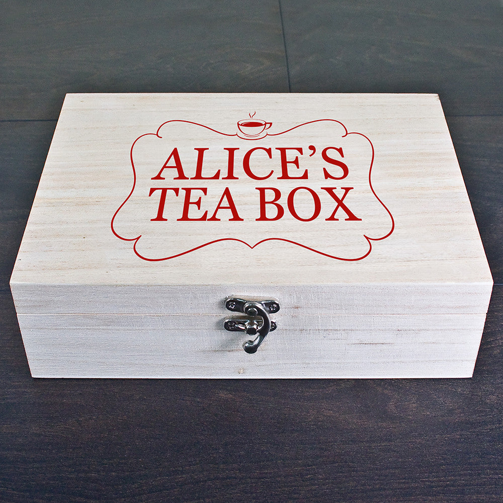 Personalised Tea Box Red - Personalised Gift Solutions - 1