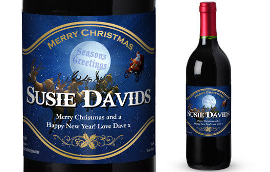 Personalised Christmas French Vin du France Red Wine Santa Label - Personalised Gift Solutions - 1