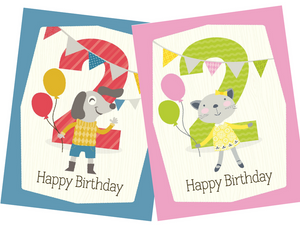 kids balloons 2nd birthday greeting card
