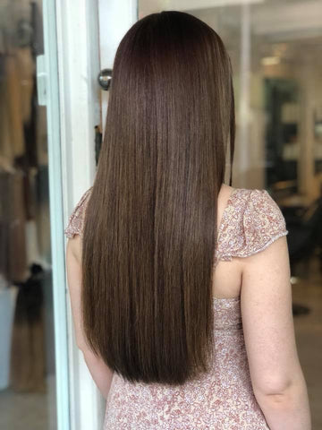 bronze brown #4 clip in hair extensions 22inch deluxe