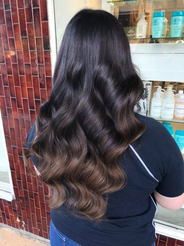 brownie points #1b-4 balayage halo hair extensions 26inch deluxe