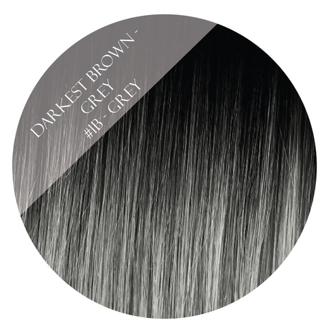 solar eclipse #1b-grey balayage clip in hair extensions 22inch deluxe