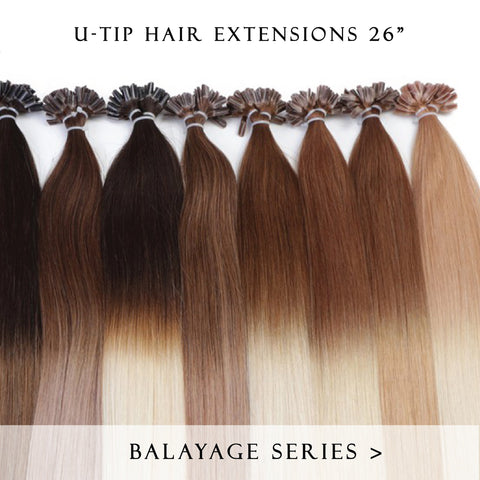 brownie points #1b-4 fusion hair extensions 26inch 50pcs - half head