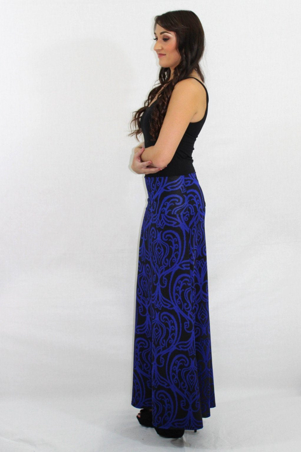 Stop and Stare Damask Blue Maxi Skirt - The Laguna Room