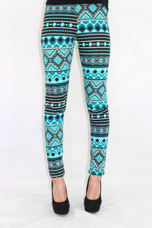 The Big Easy Blue Aztec Leggings - The Laguna Room
