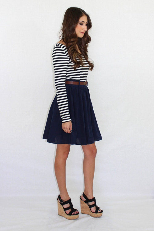Double Down Navy Striped Dress - The Laguna Room