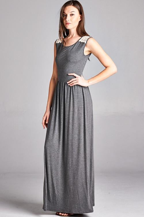 Do It Now Back Lace Insert Maxi Dress - The Laguna Room