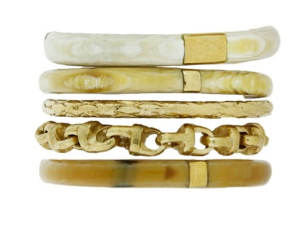 Charaza Bangle Set Light Horn