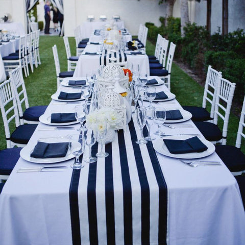 Table Setting - Runner Black & White Stripe