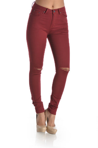 Cranberry High Waist Jeans - LAQUOR - 1