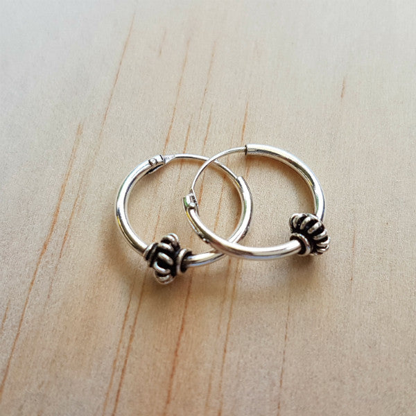 Ethnic Hoop Earrings - Inspired Tribe Silver Jewellery