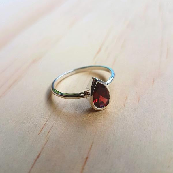 Contemporary Small Teardrop Ring Garnet - Inspired Tribe Silver Jewellery