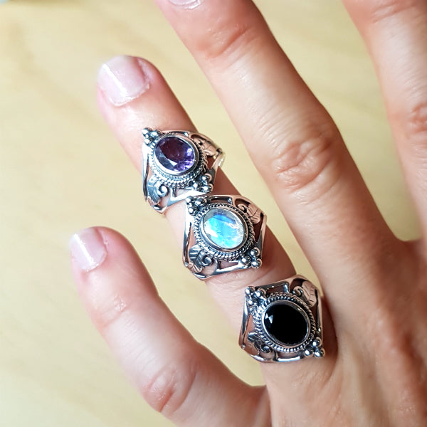Rainbow Labradorite (Moonstone) Jali Cut Sterling Silver Ring - Inspired Tribe Silver Jewellery