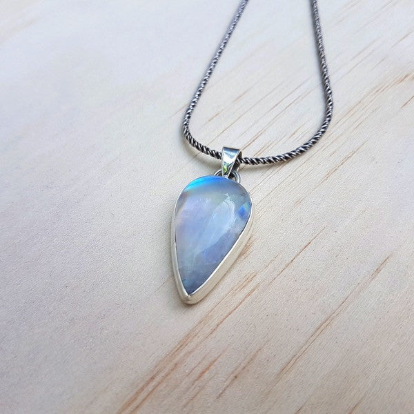 Rainbow Labradorite (Moonstone) and Sterling Silver Teardrop Pendant - Inspired Tribe Silver Jewellery
