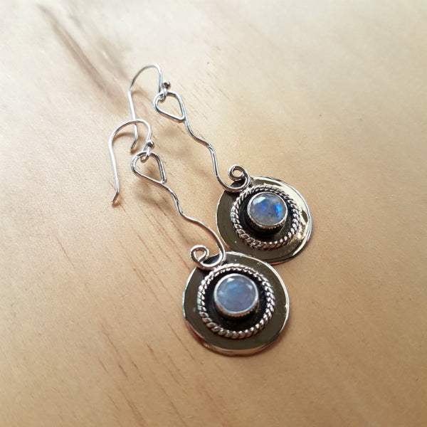 Rainbow Labradorite (Moonstone) Round Drop Earrings - Inspired Tribe Silver Jewellery