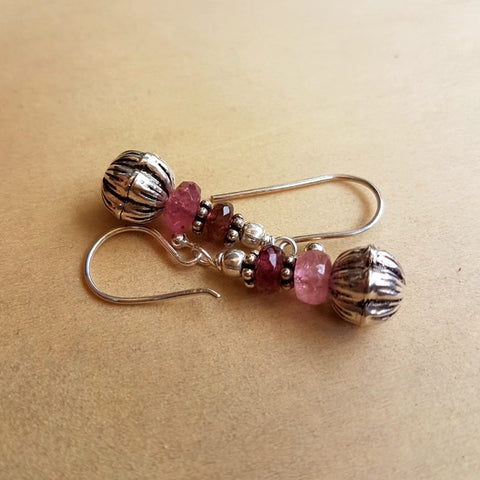 Tourmaline and Silver Beaded Earrings - Inspired Tribe Silver Jewellery