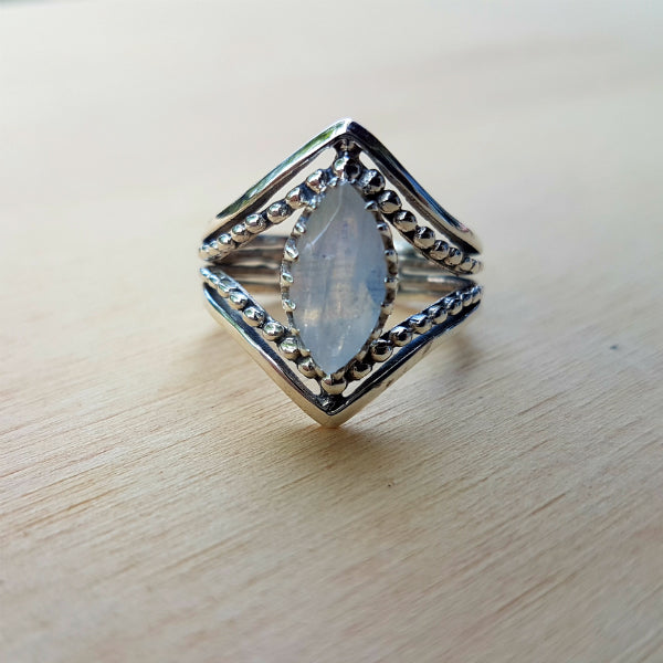 Rainbow Moonstone Marquise Claw Ring