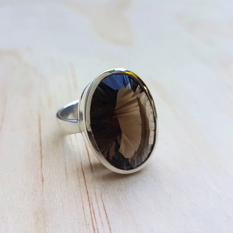 Smoky Quartz Concave Cut Ring