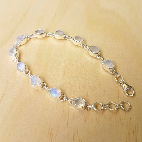 Rainbow Moonstone And Silver Contemporary Bracelet - Inspired Tribe Silver Jewellery