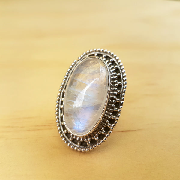 Oval Rainbow Labradorite (Moonstone) Ring - Inspired Tribe Silver Jewellery