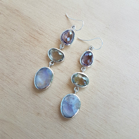 Rainbow Moonstone Amethyst and Green Amethyst Polki Earring