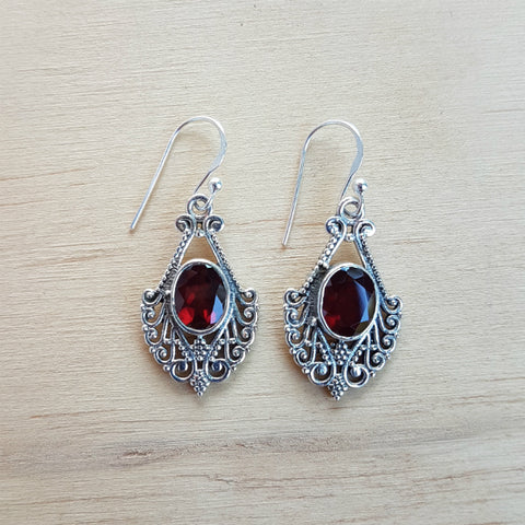 Garnet Oval Filigree Earrings