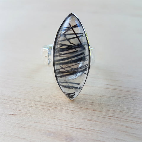 Black Rutilated Quartz Hammer Band Ring