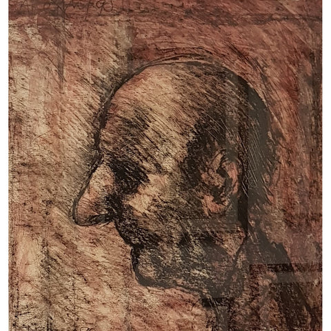Arthur Berry Original Art Head of an Old Man 1990 Mixed Media Painting by Arthur Berry