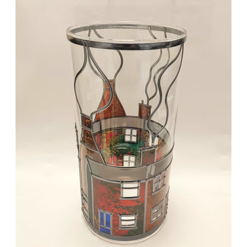 Glass Gift Terrace Street with Bottle Kilns Vase by Hedgeberry Glass