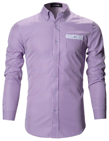 Mens Slim Fit Stripe Pattern Button Down Dress Shirts (SH123)