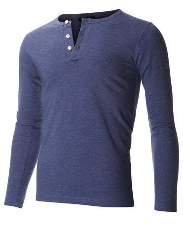 Men's Slim Fit Casual Long Sleeve Henley T Shirt (THL100)