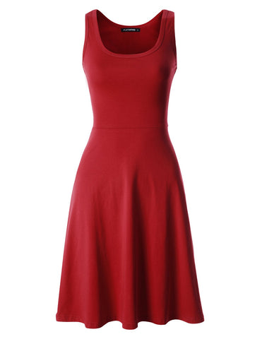 Womens Sleeveless Slim Fit and Flare Skater Dress (WDRCM101)