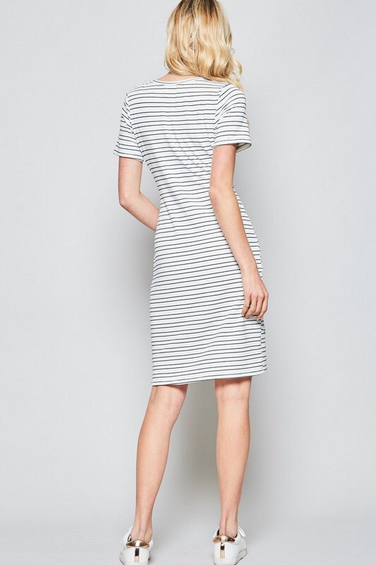 Ivory/Navy Striped Tie Dress