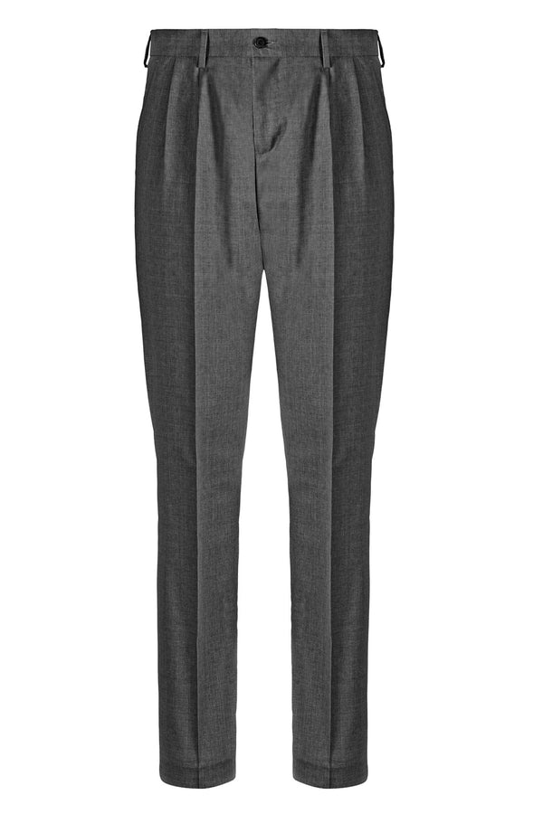 MONTEZEMOLO Men's Clothing - Trousers - Dark Grey Double Pleat Trousers - www.montezemolostore.com