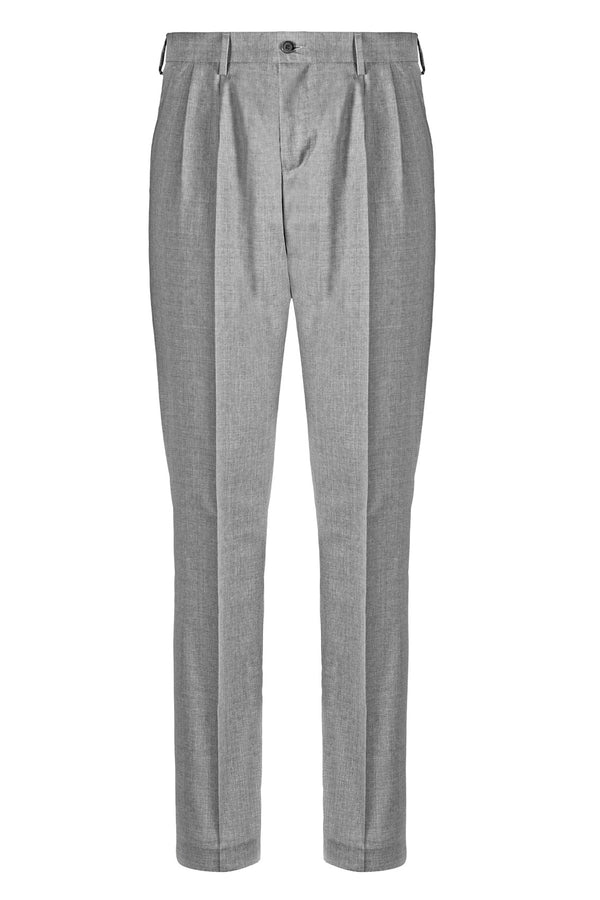 MONTEZEMOLO Men's Clothing - Trousers - Light Grey Double Pleat Trousers - www.montezemolostore.com