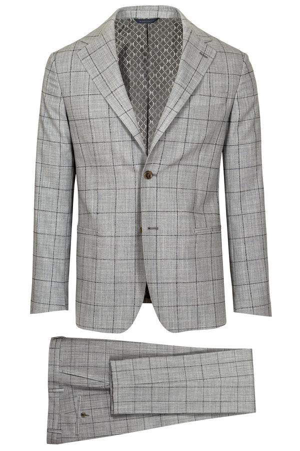 MONTEZEMOLO Men's Clothing - Suits - Grey Windowpane Loro Piana Fabric Suit - www.montezemolostore.com