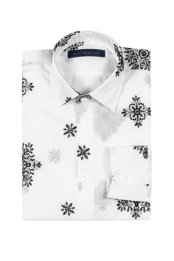 MONTEZEMOLO Men's Clothing - Shirts - Embroidered White Cotton Shirt - www.montezemolostore.com